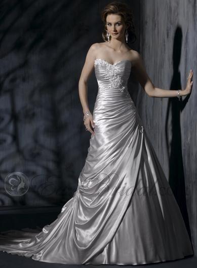 silver floor length charmeuse sweetheart plus size wedding dresses