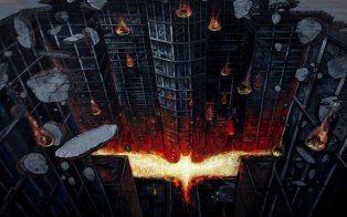 Street artist creates 3D Dark Knight photo in Madrid, Spain.