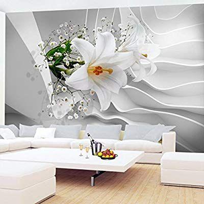Fototapete Blumen 3D Lilien Weiß Vlies Wand Tapete Wohnzimmer - tapeten wohnzimmer