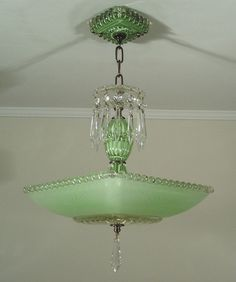 Vintage 30s Jadite Green Art Deco Square Glass Ceiling Light Fixture Chandelier