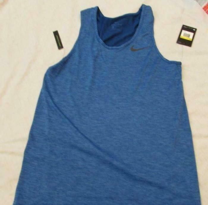 NIKE mens Sm Breathe Training tank top blue 832825 403 blue
