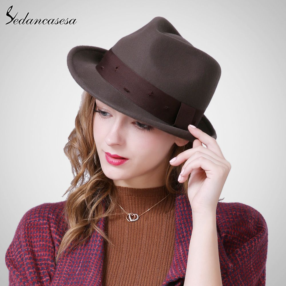 Female Fedora Hat Autumn Winter British hat Korean Style Men women Hat with  Wool Felt Jazz Hat Tag a friend who would love this! 4e8f6efc2a6b
