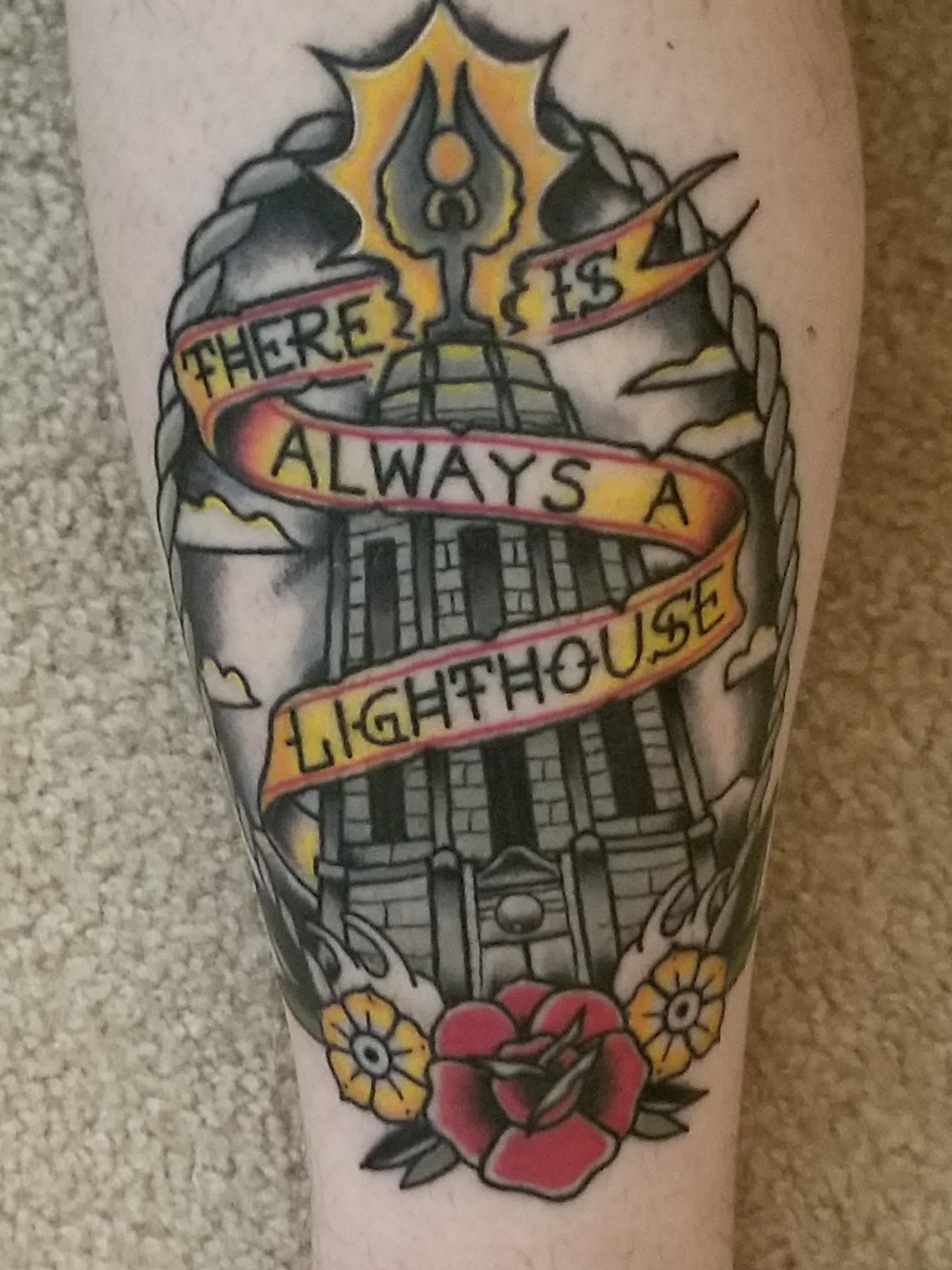 2231f8e08 My first tattoo the BioShock lighthouse. Done by Dustin Hardcastle @ Proton  Tattoo in DeKalb IL
