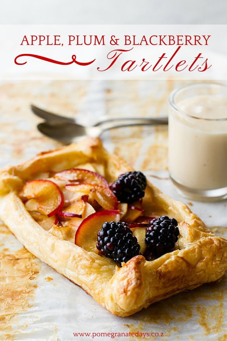 These Apple, Plum and Blackberry Tartlets are such a quick and easy dessert to make.  This recipe uses in season plums and black berries to compliment the sweet apples.  Set in a crisp puff pastry case and served simply with vanilla pastry cream, add these simple free form tartlets to your must try recipe list.