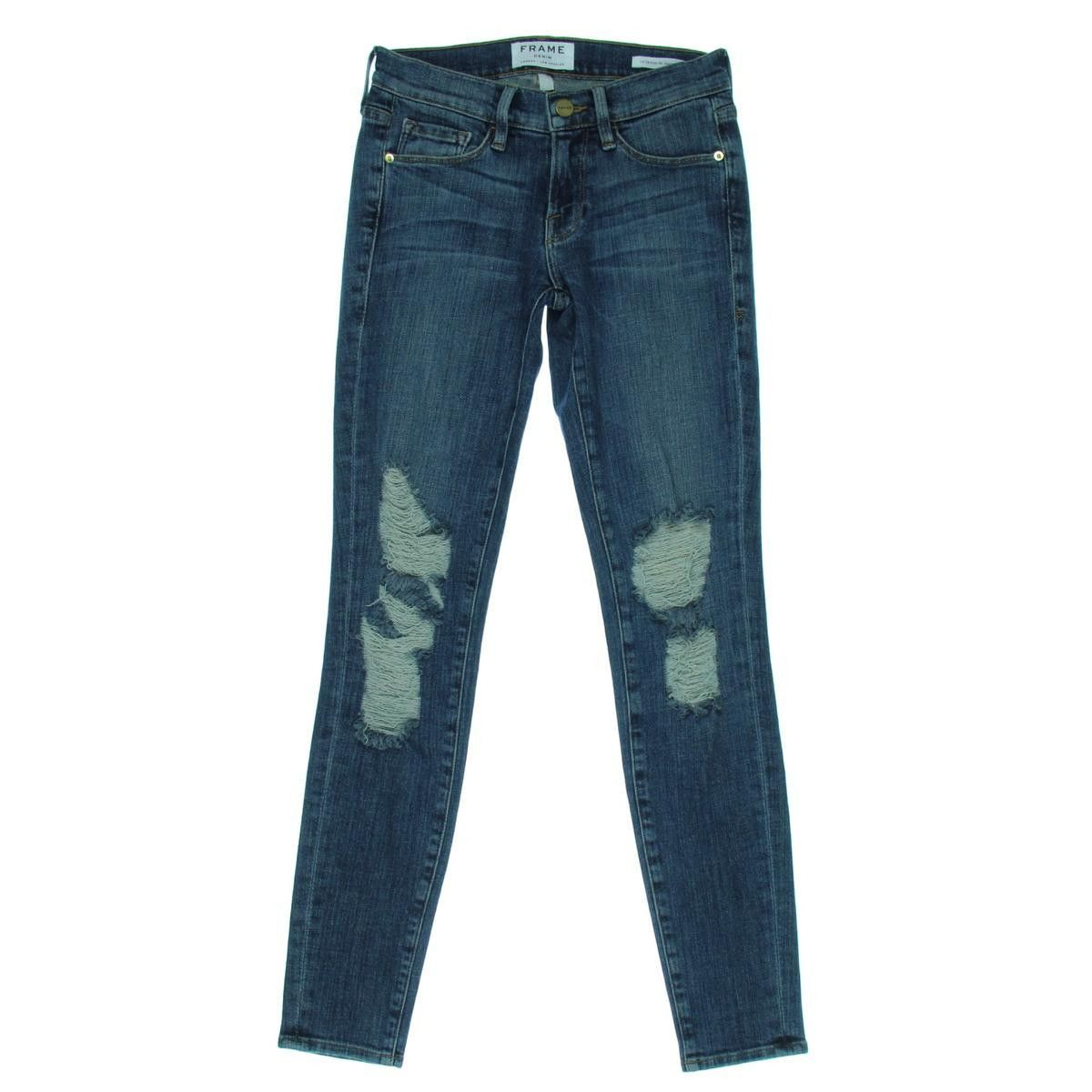 Frame Denim Womens Seville Low-Rise Destroyed Skinny Jeans