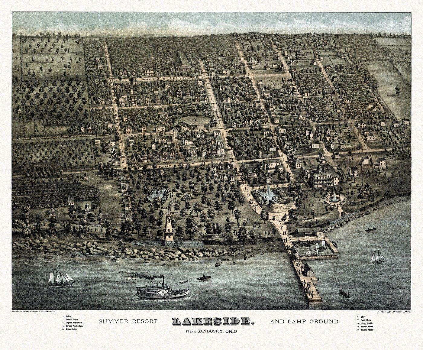 Ohio erie county vermilion - Historic Map Of Sandusky Ohio 1884 Erie County Poster