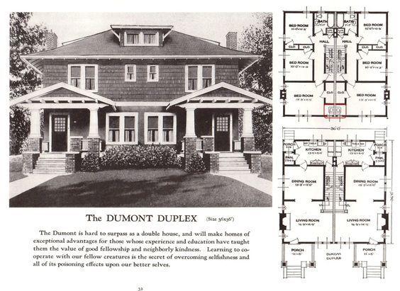 Dumont Duplex 1920s Sears Homes Vintage House Plans Duplex House Plans Duplex Plans