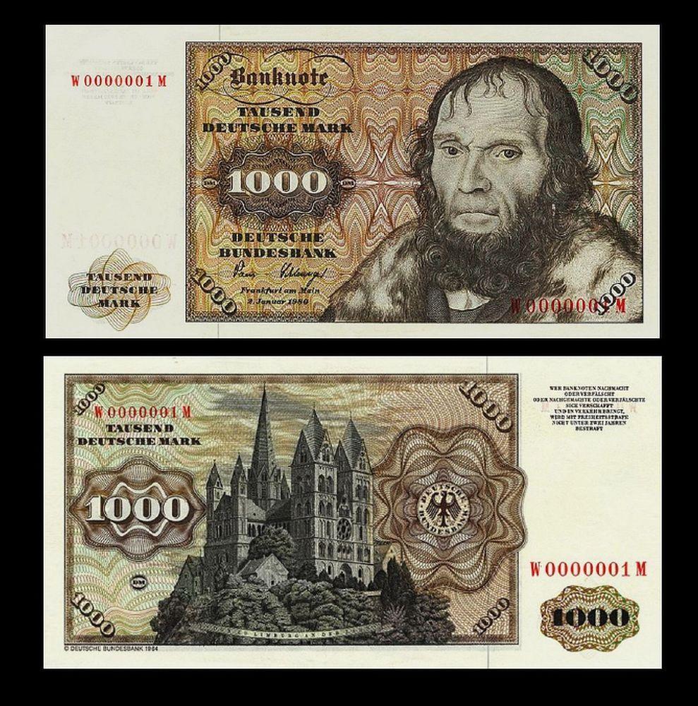 2 Stück 1000 Deutsche Mark Geldscheine 1980 Alte Währung