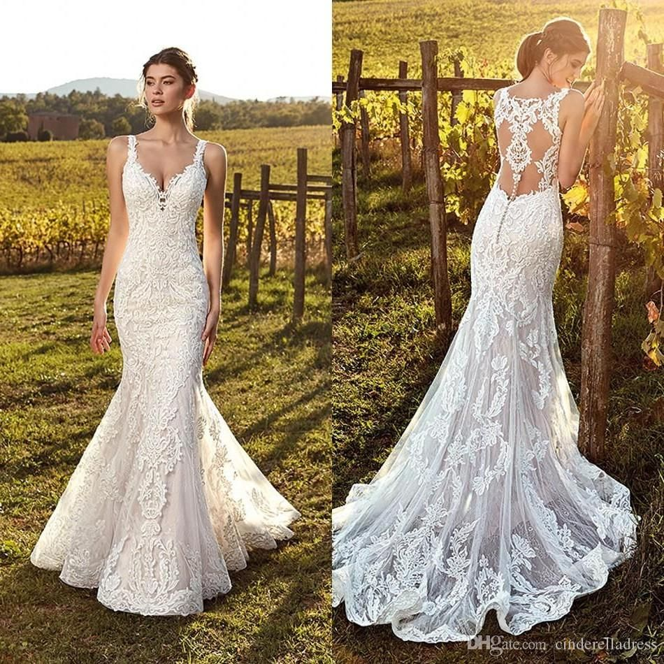 2020 Vintage Ivory Straps Deep V Neck Lace Mermaid Wedding Dresses Full Lace Tulle Summer Beach Wedding Bridal Gowns Illusion Back Bc1107 From Cinderelladress Cheap Wedding Dress Lace Mermaid Wedding [ 950 x 950 Pixel ]