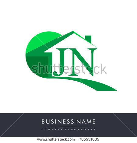 Jn Letter Roof Shape Logo Green Initial Logo Ab With House Icon Business Logo And Property Developer Initials Logo Roof Shapes Graphic Design Logo