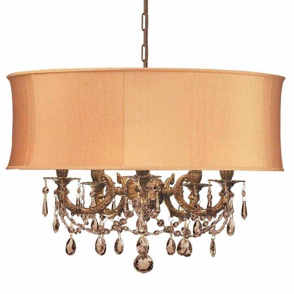 Crystorama Gramercy Collection 5 Light Aged Brass Golden Teak Swarovski Strass Crystal Chandelier