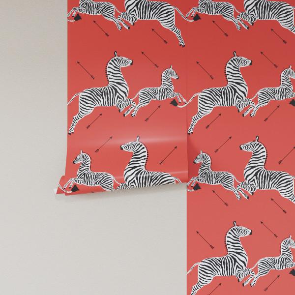 Coral Zebra Upholstered Custom Peel And Stick Wallpaper Roll Zebra Print Wallpaper Zebra Wallpaper Wallpaper Roll