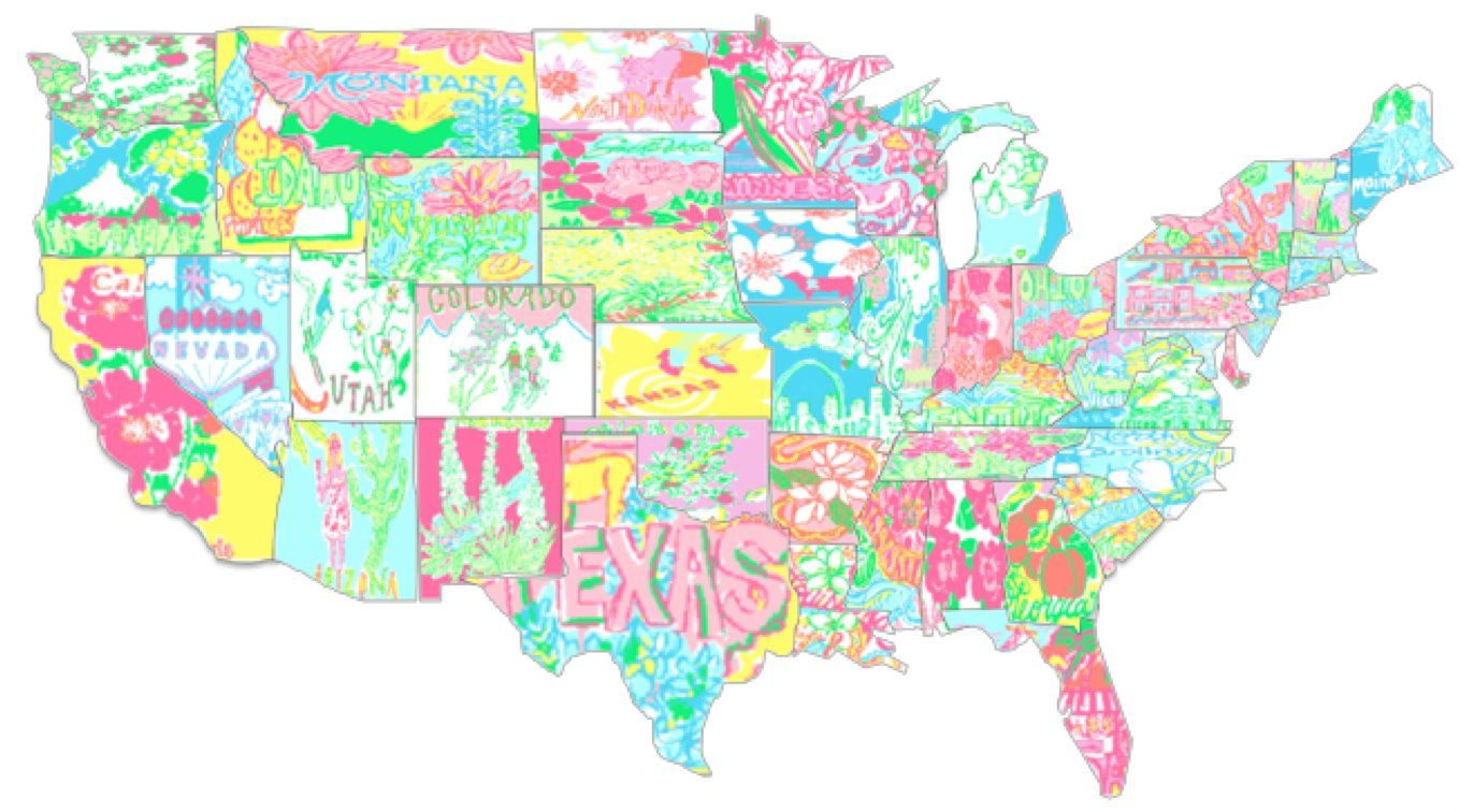 f0755cc7a247e5 Lilly Pulitzer has every state in a colorful state of mind! The Pelican  Girls are in AWE of whomever made this!