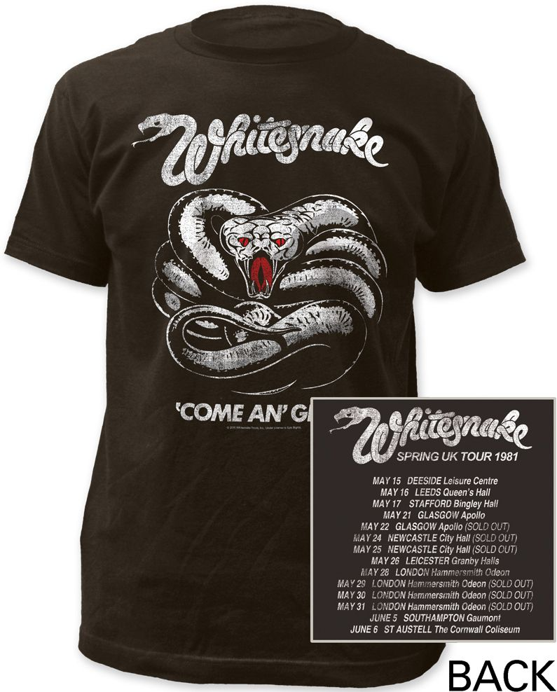 This Whitesnake rock band concert tshirt is from the English hard rock group's Spring 1981 United Kingdom Come An' Get It tour performed to promote their most recent album, at the time, also titled Come An' Get It. Our men's tee features the front album cover artwork from Come An' Get It, on the front of the shirt, along with the shows' dates, cities and venues, on the back. It is made from 100% regular fitting cotton with distressed effects for a vintage look and feel. #RockerRags…