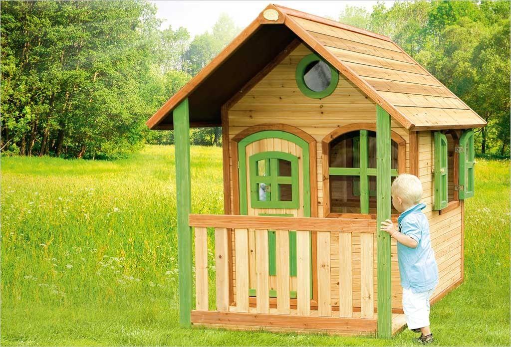 Cabane en bois pour enfant Beach 100 Rouge Exit Toys cabane enfant - Maisonnette En Bois Avec Bac A Sable