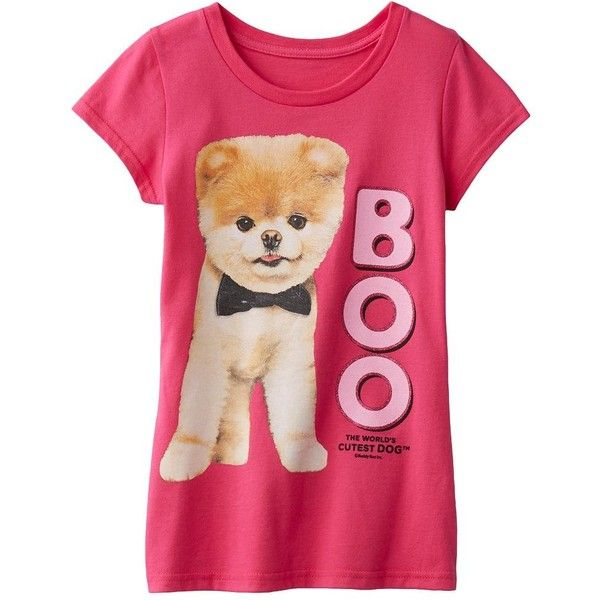 Glittery photo graphics of Boo, the World's Cutest Dog, decorate this girls' tee for an adorable look. In red.