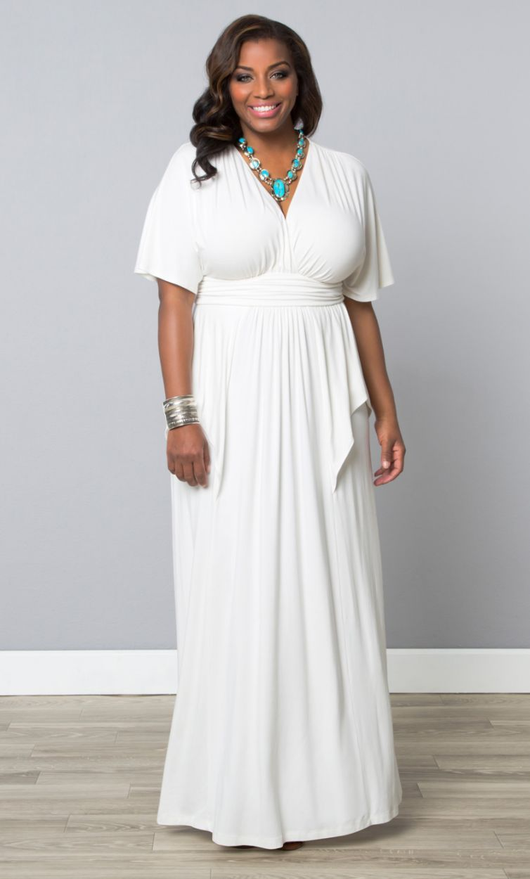 Plus Size Indie Flair Maxi Dress White Jasmine ...