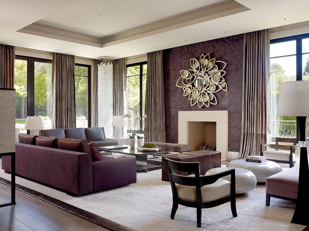 FurnitureLuxury Purple Living Room With Purple Sofa On Large White
