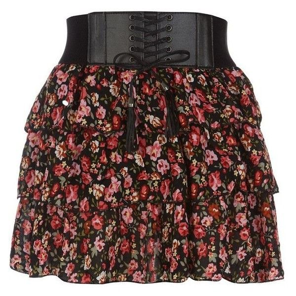 Petite Black and Pink Floral Ditsy Print Belted Skirt ❤ liked on Polyvore featuring skirts, tiered skirt, petite skirts, floral printed skirt, floral skirt and belted skirt