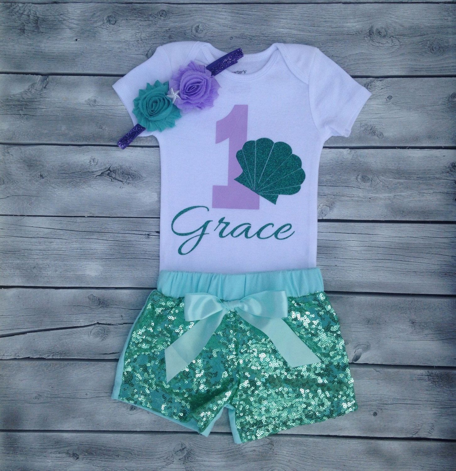 a2c841591 mermaid first birthday outfit, mermaid 1st birthday onesie, teal purple first  birthday, 1st