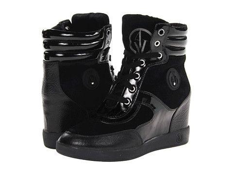 ARMANI JEANS - Black Wedge Sneaker
