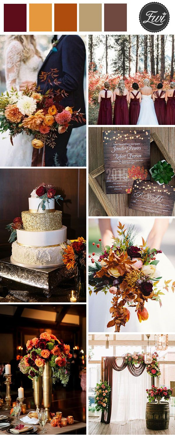 burgundy, marsala and burnt orange fall wedding color combos
