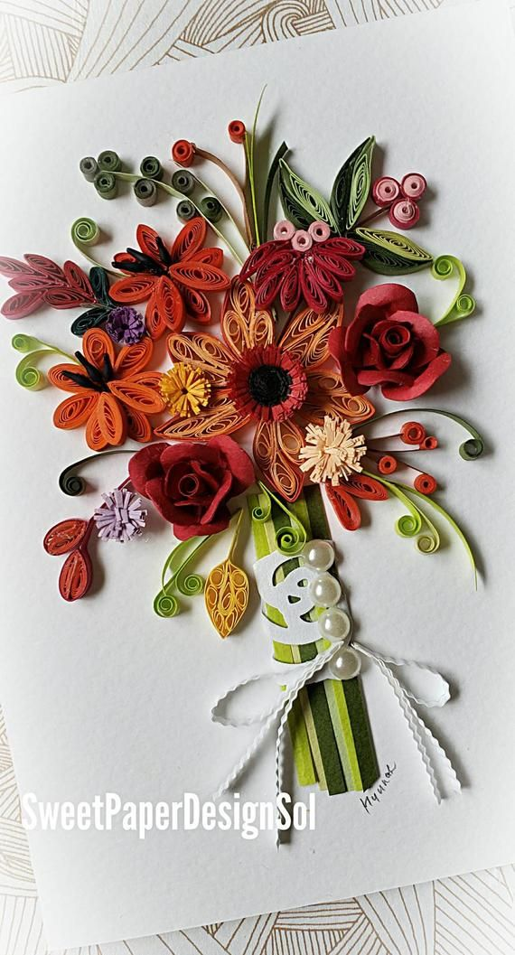 Paper quilling Art. Fall flower bouquet card. Wedding