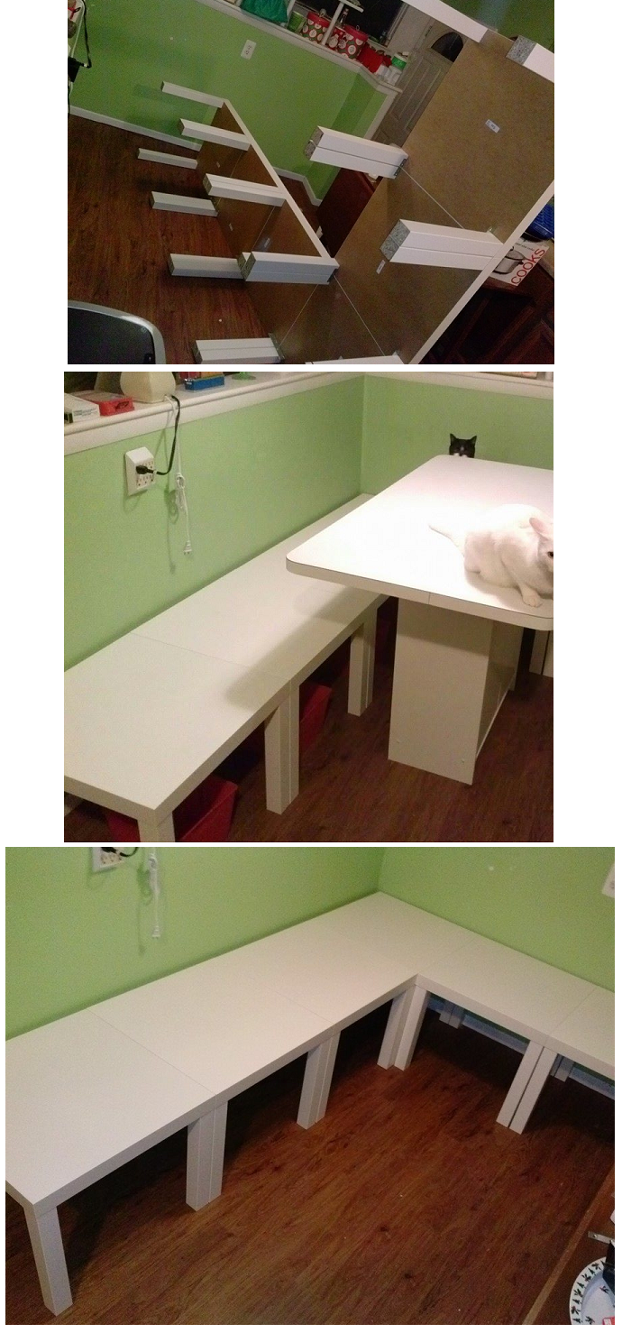ikea hacks ikea white lack side table 39 s turned into kitchen benchs design interior. Black Bedroom Furniture Sets. Home Design Ideas