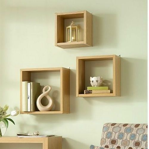 Living Room Wall Art Floating Cube Box Shelf Shelves Light Oak