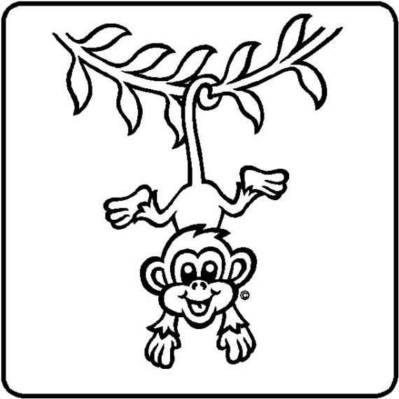 Hanging Monkeys Wall Decal Removable Monkey Wall Sticker Etsy In 2021 Monkey Coloring Pages Hanging Monkey Monkey Crafts