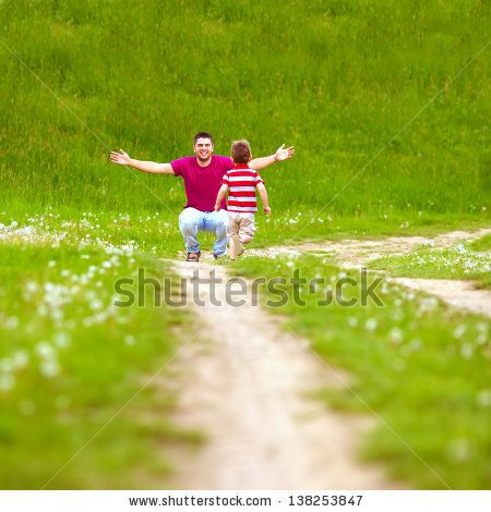Father And Baby Having Fun, Playing On Green Field Stock Photo 138253847 : Shutterstock