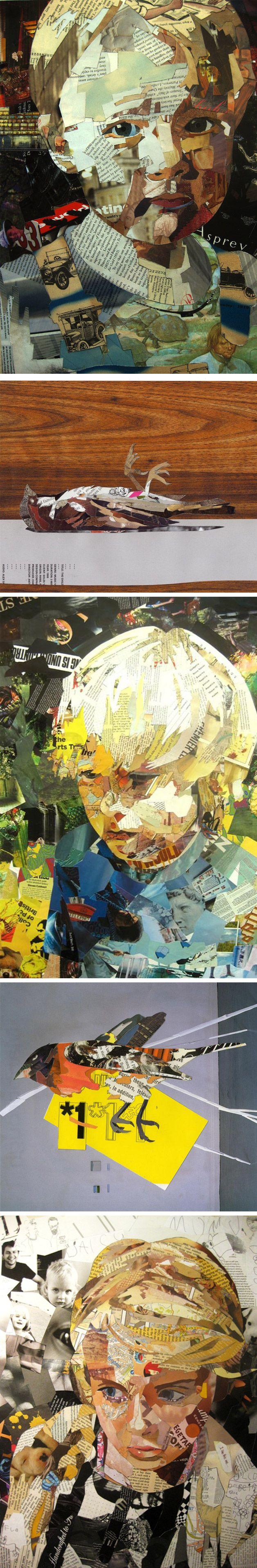 O artista Patrick Bremer recorta tiras de papel de livros, revistas e jornais para criar ilustrações sensacionais com colagem.