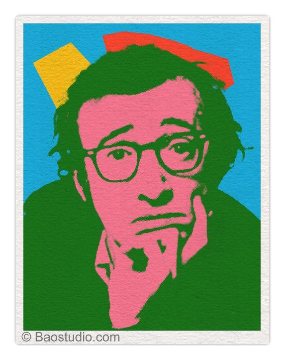 Woody Allen Blue Green 8x10 Pop Art Print Poster Peinture Chat Pop Art Andy Warhol