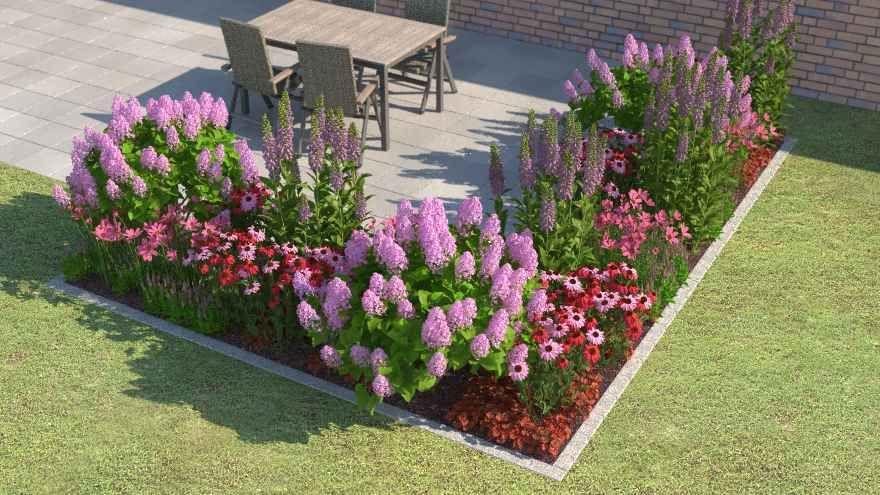 ein blumenbeet vor einem haus gardening pinterest blumenbeete gartentipps und pflanze. Black Bedroom Furniture Sets. Home Design Ideas