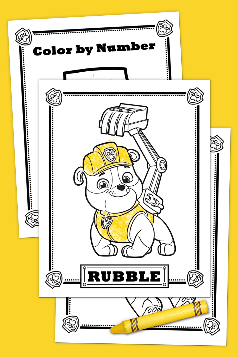 Meet Rubble Activity Pack - Paw patrol birthday, Paw patrol birthday party, Activity pack, Paw patrol party, Rubble paw patrol, Paw patrol - This bulldozing Bulldog is one strong, eager and funny pup  Simply print out this activity pack and your preschooler can color, build and laugh along with