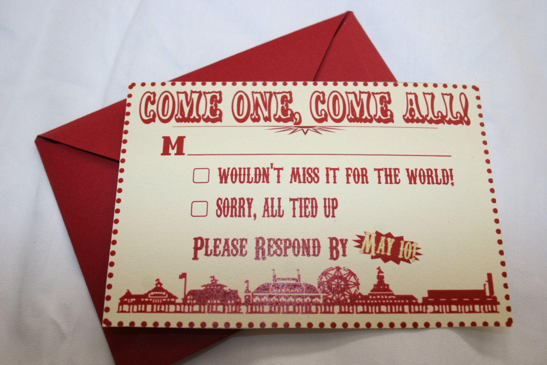 Vintage Carnival Wedding Invitation and RSVP Set of 10 | Design ...