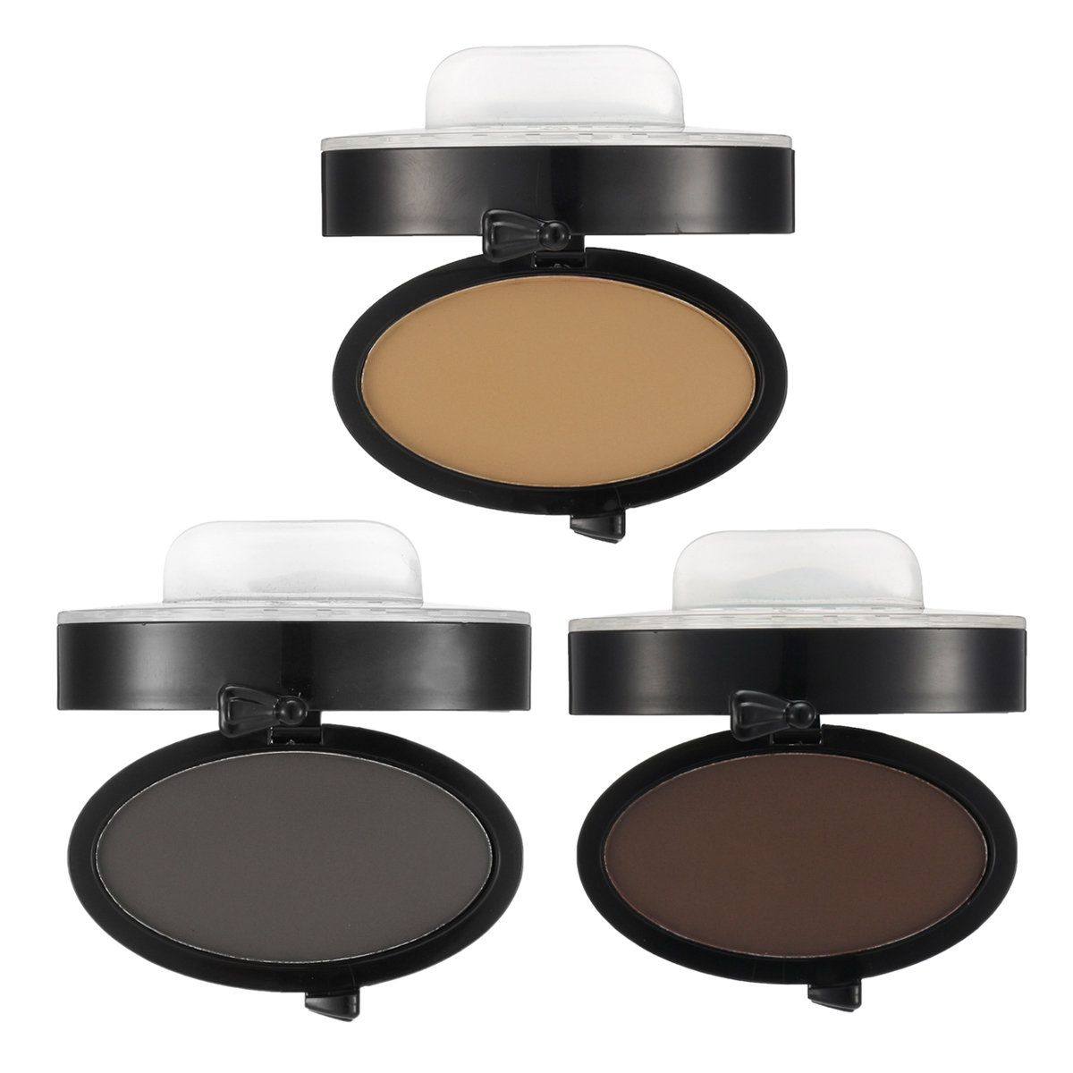 Eyebrow Stamps Kit Pigments Black Brown Brows Mineral Powder Palette