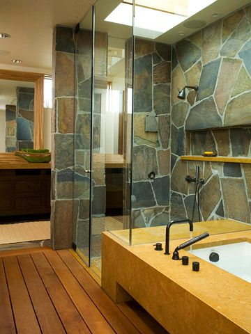 Slate-Tile Shower: I have always wanted a large natural/earthy looking bathroom. (This includes the wonderful flooring!)
