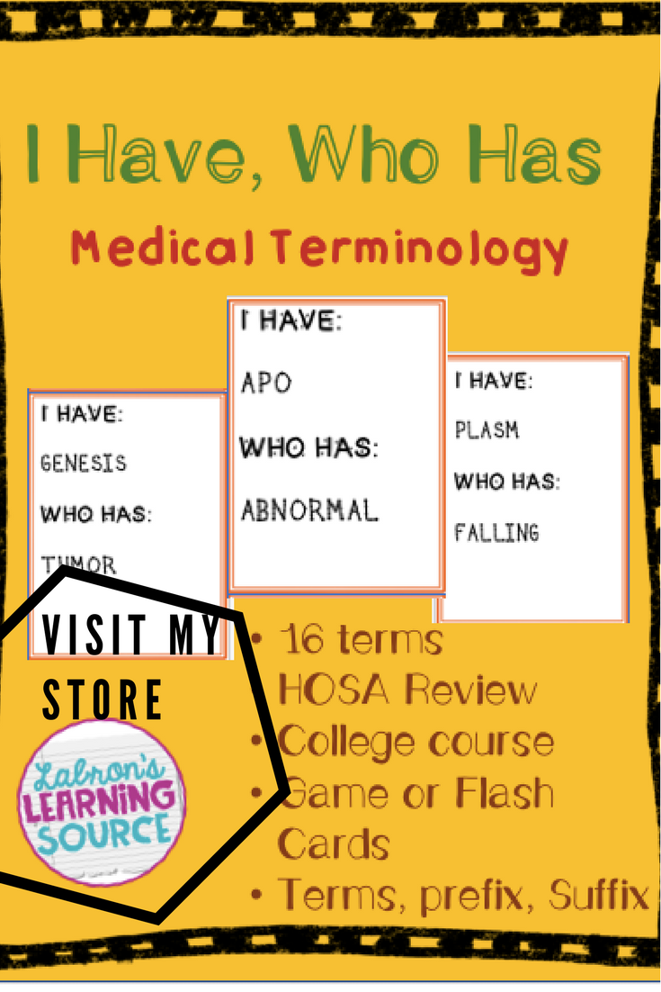 Medical Terminology Vocabulary Game Medical terminology