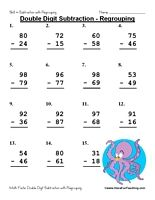 double digit subtraction worksheet  regrouping  kindergarten math  doubledigitsubtractionregroupingworksheet