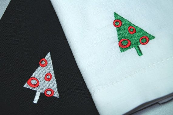 Set of 4 Christmas Retro Tree Embroidered by WhiteTulipEmbroidery