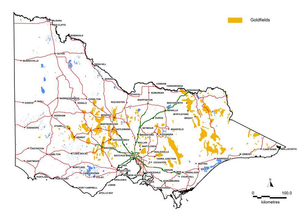 Melbourne Victoria Australia Map.Map Of Victoria Showing Location Of Goldfields Creswick Gold