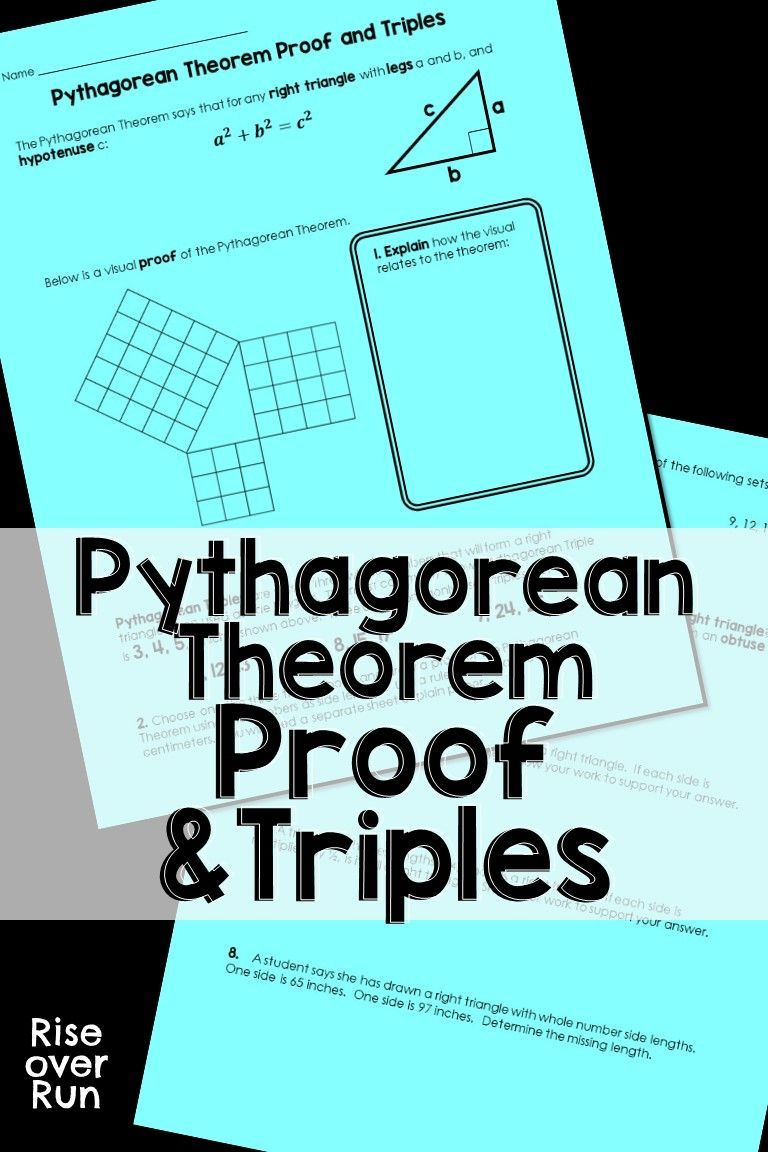 Pythagorean Theorem Proof and Triples Practice Geometry