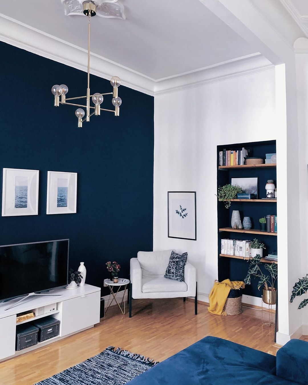 Blue Accent Wall Design Living Room Wholesale Home Decor Home Home Decor Colors