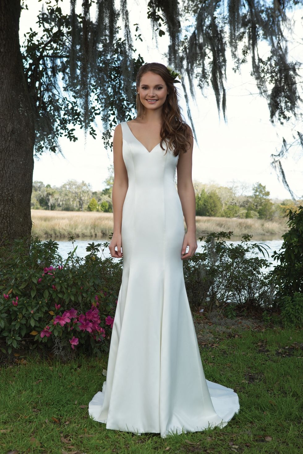 478ab5e3cf68c Stretch satin wedding dress with cowl back and fitted shape. Fit and flare  wedding gown