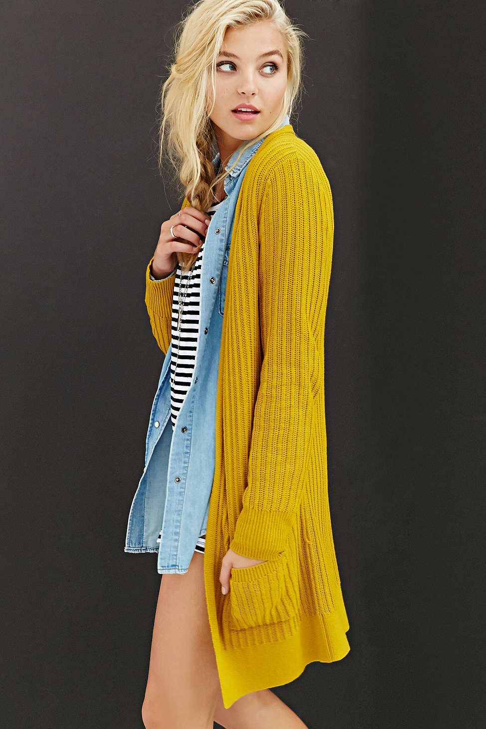 Silence   Noise Donna Cardigan Sweater | Mustard, Urban outfitters ...