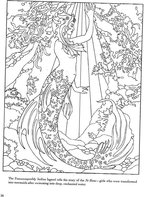 Mermaid Colouring Page Mermaid Coloring Pages For Adults