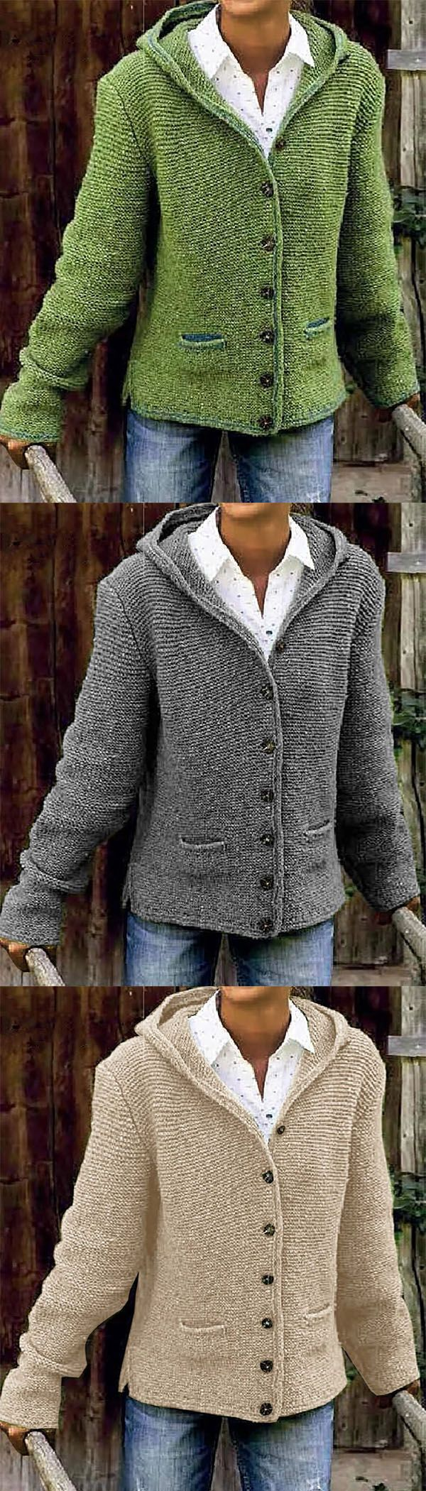 64% OFF>>Hooded Long Sleeve Knitted Cardigan Sweater