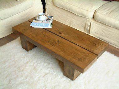 Long Solid Low Dark Oak Pine Wood Coffee Table Chunky Rustic Plank Modern Beam Ebay