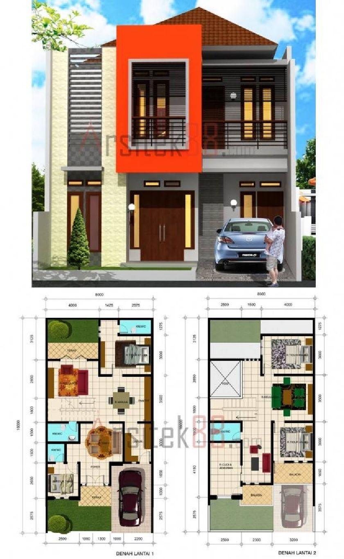 DESAIN RUMAH 804 Diatas Lahan 8 X 16 M2 Homes With Floor Plans